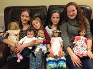 The girls plus their American girl dolls. They will miss playing together.