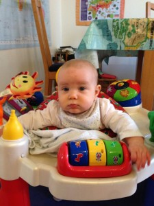 And getting used to the exersaucer . . . what a big girl!