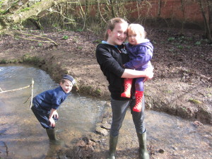 The kids love playing down by the brook near our house . . hours of fun with mud and water!