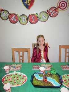 Mariah requested a Robin Hood Party so we had her friends over last Sunday for the big event.  She dressed up at Maid Marion.  A friend helped me organise the party and made the beautiful sign with Mariah's name.