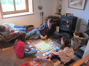 Back at the cottage, playing monopoly in front of the fire.  Even I (mom) made a rare appearance in the game! :-)  However, I was reminded how LONG this game is. :-)