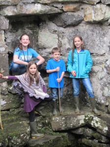 Here are the older four inside one of the ruined buildings.