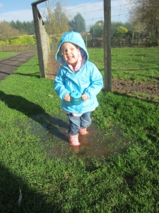 Kaylah loved the puddles at Birdland . . .later we found out she hadn't had any socks on all day. She never complained about her COLD feet!