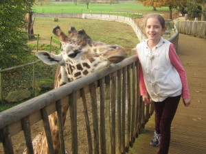 Aliyah got up close and personal with a giraffe!