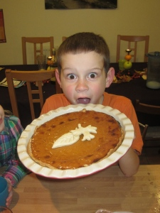 We enjoyed a Thanksgiving meal with some American friends . . . Joel was very excited about the pumpkin pie!