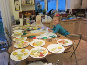 We had a cookie making party with a few of the neighbour kids . . . MANY cookies made and shared!