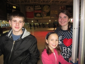 We had lots of fun ice skating with Peter's sister's family on Christmas Eve. Here's Mariah with Daniel and Rebecca.