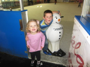 Joel skated HARD for two full hours.  He got to use this snowman that someone abandoned at one point.  Kaylah keeps talking about how she will go skating when she's bigger!