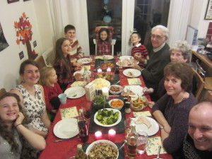 Christmas dinner with Peter's family.  Our attempt to do a turkey actually worked, thanks to good advice from friends!