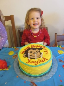 Sweet Kaylah's birthday was first.  We had a Curious George party and invited anyone from church who wanted to come celebrate with us.