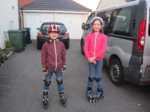 Mariah and Joel have gotten really good on their roller-blades. On my birthday, they put on a little show for us all.