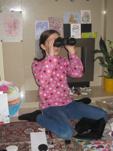 She and Joel enjoy learning about birds so she got binoculars for her birthday so she can do some birdwatching.