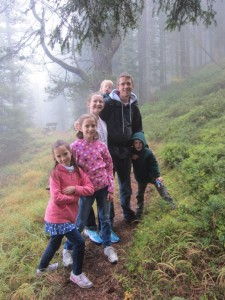 The second mountain we went up was called - Ciampedia (field of God).  We arrived in total cloud and went for a hike. Some of the kids were pretending them were on a military expedition.