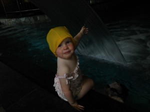 And we went swimming one morning.  Caps were required . . . even for Kaylah.