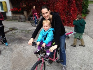 We also did some bike riding along the river that was right behind the flat we stayed in.  Kaylah had a special seat!