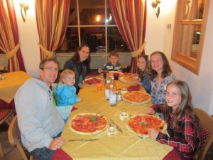 Apart from going up mountains, we enjoyed some nice meals out.  Yum - Italian pizza (even gluten free for Mom!)