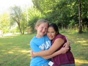 Hannah and her friend Esther at the missionary conference we went to