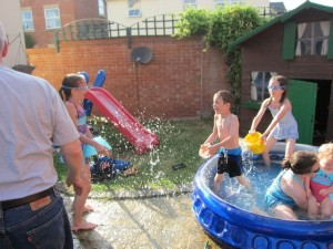 We had a BBQ with both sets of grandparents . . . had to have a truce in the water fight so the grandmas could walk to and from the house!