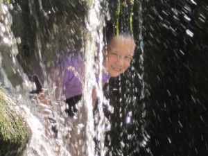 Normally, we enjoy the waterfall at Bowood from a distance.  That day the kids cooled off IN the waterfall!