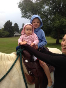 Jessah got to sit on a horse for the first time - she wasn't too impressed!