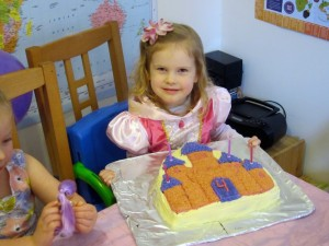 The birthday celebrations began with Kaylah's 4th birthday on February 1st. She requested a castle cake. :-)