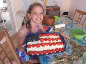 Aliyah made the Fourth of July cake this year