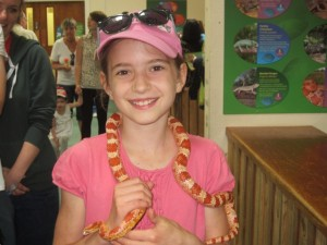 Aliyah does not have her mum's fear of snakes!